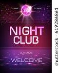 disco ball background. neon... | Shutterstock .eps vector #619286861