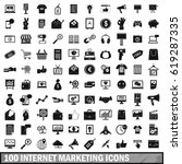 100 internet marketing icons... | Shutterstock .eps vector #619287335