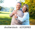happy elderly seniors couple in ... | Shutterstock . vector #61928983