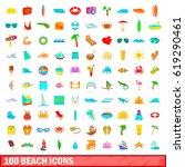 100 beach icons set in cartoon... | Shutterstock .eps vector #619290461