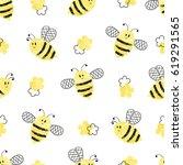 seamless bees pattern. vector...   Shutterstock .eps vector #619291565