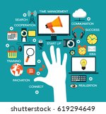 man offers automation... | Shutterstock .eps vector #619294649