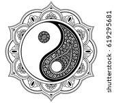 vector henna tatoo mandala. yin ... | Shutterstock .eps vector #619295681