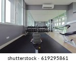 modern fitness center interior... | Shutterstock . vector #619295861