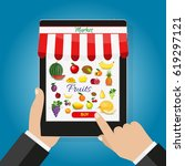 online food shopping ... | Shutterstock .eps vector #619297121