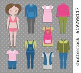cute dress up paper doll with... | Shutterstock .eps vector #619298117