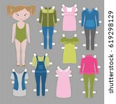cute dress up paper doll with... | Shutterstock .eps vector #619298129