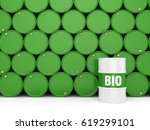 3d rendering green barrels for... | Shutterstock . vector #619299101