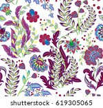 rich seamless pattern in ethnic ... | Shutterstock .eps vector #619305065