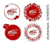 happy mother's day stamp. red... | Shutterstock .eps vector #619305071