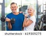 senior couple exercising in gym  | Shutterstock . vector #619305275