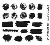 hand drawn abstract black paint ... | Shutterstock .eps vector #619306235
