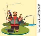 happy fisherman stands and... | Shutterstock .eps vector #619308659