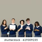 group of diverse students using ... | Shutterstock . vector #619309235