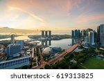 aerial view of singapore... | Shutterstock . vector #619313825