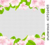 apple tree flowers with frame    Shutterstock . vector #619316405