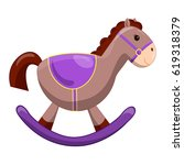 cute toy horse with wheels.... | Shutterstock .eps vector #619318379