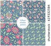 cute set of 4 floral seamless... | Shutterstock .eps vector #619332584
