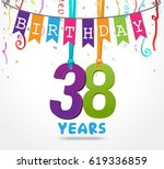 38 years birthday celebration...   Shutterstock .eps vector #619336859