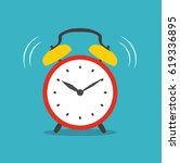 alarm clock red wake up time... | Shutterstock .eps vector #619336895