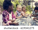 group of diverse kids drawing... | Shutterstock . vector #619341275