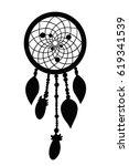 black dreamcatcher silhouette... | Shutterstock .eps vector #619341539