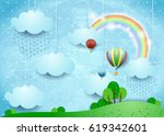 fantasy landscape with rain and ... | Shutterstock .eps vector #619342601