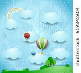 surreal landscape with rain and ... | Shutterstock .eps vector #619342604