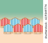 beach huts on the seacoast as... | Shutterstock .eps vector #619349774