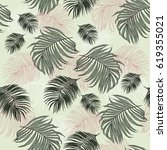 seamless pattern with tropical... | Shutterstock . vector #619355021