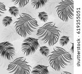 seamless pattern with tropical... | Shutterstock . vector #619355051