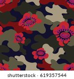 camouflage with red flower and... | Shutterstock .eps vector #619357544
