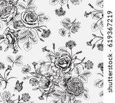 seamless pattern with flowers.... | Shutterstock .eps vector #619367219