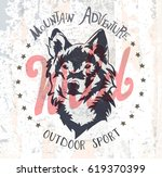 wild wolf. vector graphic.    | Shutterstock .eps vector #619370399