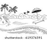 Sea Coast Graphic Black White...