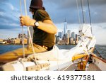 sailboat and a beautiful view... | Shutterstock . vector #619377581