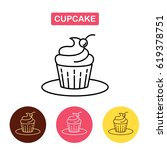 cupcake with cherry symbol. ... | Shutterstock .eps vector #619378751