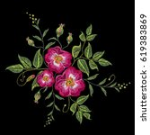 embroidery wild rose  dogrose... | Shutterstock .eps vector #619383869