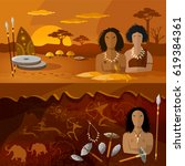 stone age  neanderthal family... | Shutterstock .eps vector #619384361