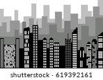 black random city skyline ... | Shutterstock .eps vector #619392161