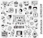cinema doodles | Shutterstock .eps vector #619401149