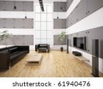 living room with black sofa ... | Shutterstock . vector #61940476