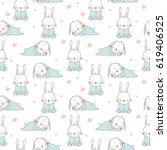 vector print with cute bunny.... | Shutterstock .eps vector #619406525