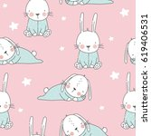 vector print with cute bunny.... | Shutterstock .eps vector #619406531