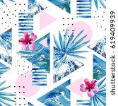 abstract summer geometric... | Shutterstock . vector #619409939