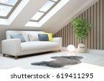white modern room with sofa.... | Shutterstock . vector #619411295