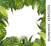 tropical jungle leaves... | Shutterstock . vector #619411331