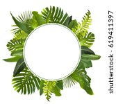 tropical jungle leaves...   Shutterstock . vector #619411397