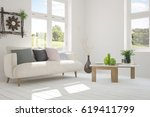 white room with sofa and green... | Shutterstock . vector #619411799