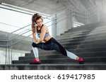young woman exercise in urban... | Shutterstock . vector #619417985